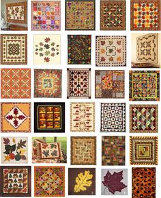 Free Pattern Day:  Autumn Leaves quilts.  Updated August 7, 2015.  Maple leaf, oak leaf, scrappy quilt, wall hanging, pieced, appliqued.