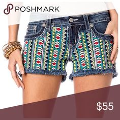 """Miss Me Aztec embroidered denim shorts Miss Me Aztec embroidered denim shorts.  Rhinestone and sequin detail.  Cut off shorts.  Style JW6364H.  Inseam 3"""".  98% cotton 2% elastane.  Brand new with tags still attached.  Price is firm.  No trades.  Waist measured when flat 16.5"""". Miss Me Shorts"""