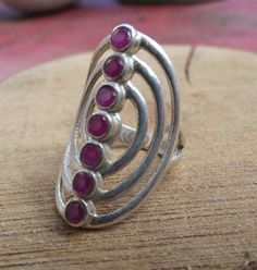 925 sterling silver ring with ruby stone by silveringjewelry