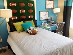 Cut footballs in half and place on artificial grass to make this creative headboard for your football fan's bedroom.