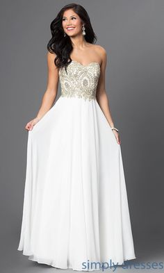 Beaded Bodice Sweetheart Off-White Formal Gown - Brought to you by Avarsha.com