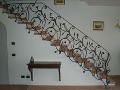 Showpieces For Home Decoration Info: 1367979375 Wrought Iron Stair Railing, Stair Railing Design, Wrought Iron Beds, Stair Handrail, Wrought Iron Fences, Staircase Railings, Stairs, House Gate Design, Home Garden Design