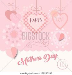 Happy Mother''s Day card, banner, flyer, templates with lettering, hearts. Futuristic style, Typography poster, label, brochure banner design collection. Love, Romance promotion.