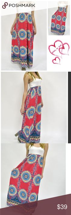 """Printed Maxi Dress Gorgeous vibrant colors make this maxi dress pop out.  100% rayon. The top is lined with the same material that is show for the top. Small measures 15"""" from arm pit to armpit and  total length is 58"""". Medium measures 16"""" across the chest and measures 58"""" in length.  Large measures 18"""" across the chest and measures 58"""" in length.  Fit is more for a Junior size.  Does have about 1"""" stretch. Dresses Maxi"""
