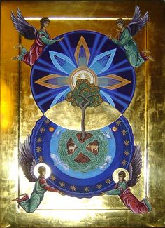 The mandorla is an ancient Christian symbol of two circles coming together, overlapping one another to form an almond shape in the middle. The circles my represent spirit and matter, or heaven and earth. In the middle is a place of reconciliation, of transformation - the incarnation.