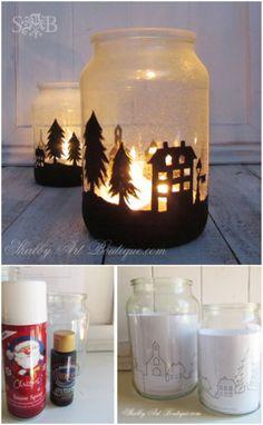 Christmas Silhouette Jars