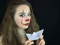 """Glam Pennywise Halloween Makeup from the movie """"IT"""". ... (you can find the tutorial on my channel: LlamasAreCool, link provided) Super simple and easy, very affordable and fun to recreate, great for Parties, trick or treating... Glam, Glamorous, fun, cute, halloween, makeup, MUA, pennywise, creepy clown, cute clown, clown makeup, IT, movie... made with normal makeup products, a little glitter and red paint... #art #fashion #halloweenmakeup #makeup #Halloween #pennywise #IT #diy #halloweendiy"""