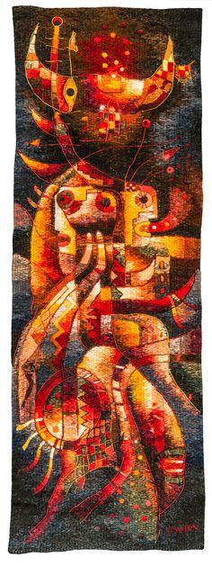 """/// Handwoven Miniature Tapestry. """"Juntos recibiendo la fertilidad"""". 38 x 12 cm. The Museo Maximo Laura Collection. ///"""