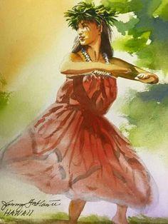 Hawaiian People, Hawaiian Dancers, Hawaiian Art, Hawaiian Theme, Hula Dance, Dance Art, Hawaiian Goddess, Polynesian Art, Dance Paintings