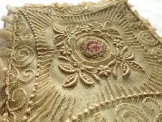 """Gorgeous ruffled Net lace w/ petit point tambour hankie holder pouch, silk 6.5"""""""