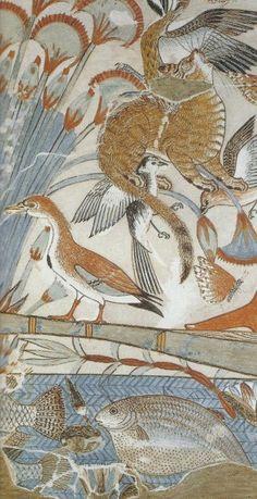 Peinture murale représentant une chasse au gibier d'eau dans les marécages. Voici une copie d'un original par Nina M. Davies. Bibliothèques du Louvre.
