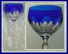 Cobalt Blue Wine Glass Goblet Hock Cut to Clear Crystal Cased Panel Cut German | eBay