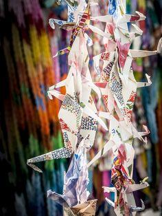 Origami Paper Cranes, Children's Peace Monument at Peace Memorial Park, Hiroshima, Japan.