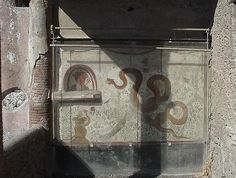 The lararium (= shrine of the lares) in the House of Cryptoporticus. The snakes chase the evil spirits away and bring abundance. Ancient Rome, Ancient History, Art History, Roman Gods, Pompeii And Herculaneum, Home Protection, Roman Art, Carthage, Pompeii