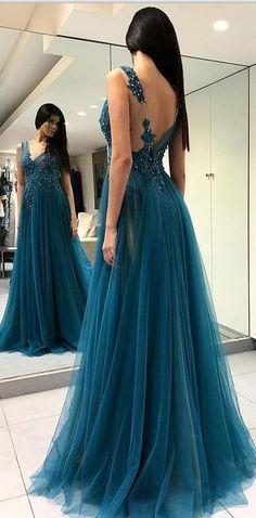 Charming A-line V-Neck Tulle Elegant Side Split Long Prom Dresses , PD0859 78f5334205