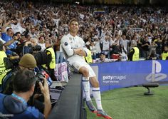 Cristiano Ronaldo of Real Madrid celebrates his team's second goal during the UEFA Champions League Semi Final first leg match between Real Madrid CF and Club Atletico de Madrid at Estadio Santiago Bernabeu on May 2, 2017 in Madrid, Spain.