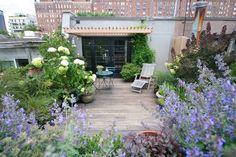 New York roof garden with hydrangea arrangment.
