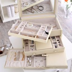 Holden Extra Large Bonded Leather Jewelry Box - Ivory - 16.5W x 10H in.
