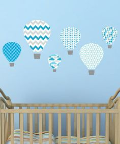 Blue Hot-Air Balloon Wall Decal Set by Wallquotes.com by Belvedere Designs on #zulily