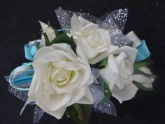 2 Piece wrist corsage and boutonniere in white roses- Tiffany blue ribbon on Etsy, $30.00