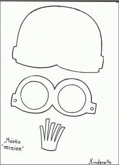 minion cut out template Minion Template, Hat Template, Diy For Kids, Crafts For Kids, Minion Card, Carnival Crafts, Minion Mayhem, Felt Mask, Homemade Costumes