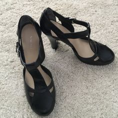 Nine West heels Really cute heels, only worn once to try on. There is a little stain inside. Price reflects this. Outside in excellent condition. Making room in my closets. Smoke and pet free home. If you have any questions feel free to ask. Nine West Shoes Heels