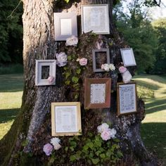 Think outside the box for your wedding table plan and use your surroundings - we love these hanging cards placed in frames and hung on this beautiful old tree.