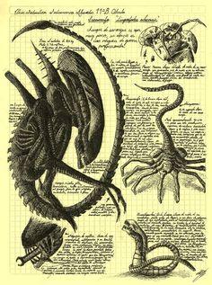 Interesting Vintage looking Aliens study sketch