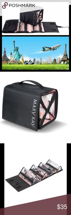 """Travel Roll-Up Bag Mary Kay Travel Roll-Up Bag. Clear, removable plastic zippered compartments help keep beauty and skin care organized. Swivel hanger allows you to hang the bag vertically open for easy accessibility whether at home or while traveling. Measures 31"""" X 9"""" when hanging up. The inner bags each measure 9"""" X 5"""" X 3.5"""". Very easy to pack and roll up for traveling. Great to hang over the closet or bathroom door for storage, or grab one of the little bags for the gym or your purse…"""