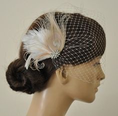 Birdcage Veil ,Champagne peacock ,Feathers Fascinator,(2 ITEMS),Champagne…