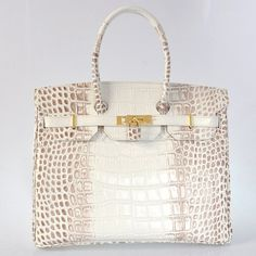 Hermes Birkin 35CM White Himalayan Crocodile Stripe Handbag