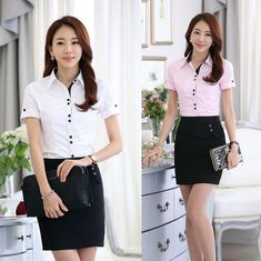 Formal Uniform Style 2015 Summer Short Sleeve Female Office Suits Blouse And Skirt For Women Ladies Tops Shirts Blouses Set Blouse And Skirt, Skirt Suit, Office Outfits, Office Wear, Pencil Dress, Suits For Women, Shirt Blouses, High Waisted Skirt, Lady