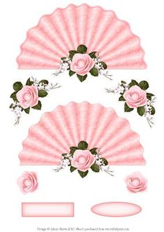 Pink Roses and Lace Fan on Craftsuprint designed by Julene Harris - Gorgeous pink fan card topper embossed with pink lace pattern. Single pink rose accent with additional decoupage elements. Two labels are included that you can customize for any occasion. Please click on my name to view more of my designs. - Now available for download!