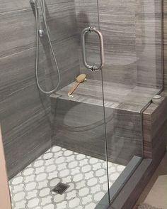 White Thassos and Bianco Carrara Marble Waterjet Mosaic Tile in Arabesque Marrakech Beautiful Bathrooms, Modern Bathroom, Small Bathroom, Bathroom Ideas, Rental Bathroom, Bathroom Closet, Shower Ideas, Parisian Bathroom, Luxurious Bathrooms
