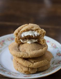 browned butter snickerdoodles stuffed with white chocolate
