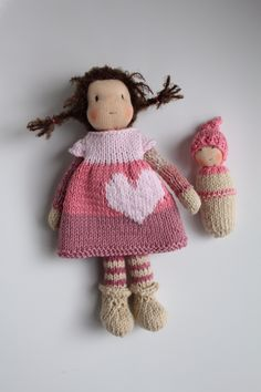 Tiny little Waldorf inspired doll Katja 8 inch / 20 cm. How cute is she? Little Katja and her doll?