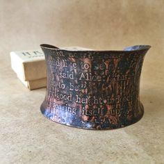 Alice in Wonderland Copper Cuff Bracelet by narcise on Etsy