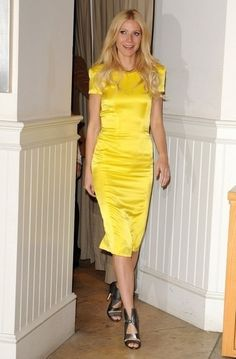 Gwyneth Paltrow in yellow Rachel Roy 2009 Spring Collection