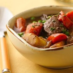 Slow cook sweet caramelized onions with beef and vegetables for a satisfying stew.