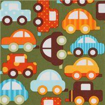 Tissu bio Robert Kaufman vert avec des voitures multicolores
