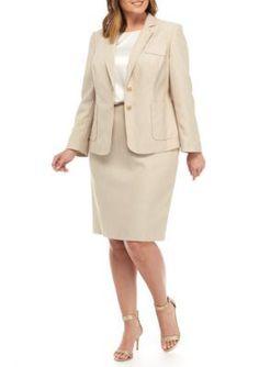 19c37f21ce579 John Meyer Plus Size Dual-Button Skirt Suit