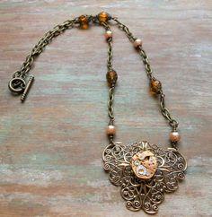 Steampunk Victorian Gold Watch Movement Filigree Brass Necklace ~ Light Topaz Czech Bead Cream Glass Pearl Swarovski Wedding Jewelry by BackAlleyDesignsINK on Etsy