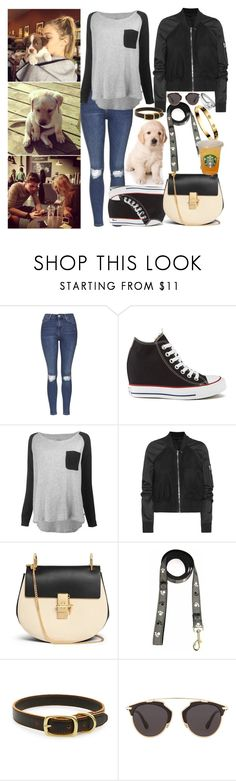 """""""a walk with my little puppy"""" by ally-xcv ❤ liked on Polyvore featuring Topshop, Converse, Leon & Harper, Rick Owens, Chloé, WALL, Shinola, Cartier, Christian Dior and 18 KT"""