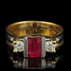 Emerald Cut 3 Stone Ruby Ring with Two Diamond Accents .33cttw Set in – The Castle Jewelry