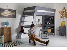 Łóżko piętrowe z biurkiem JULIEN szare Wymiary: 179x247x96 cm (h x b x d) Materiał: drewno sosnowe szczotkowane Uwagi: łóżko bez materaca i stelaża.