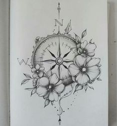 Gorgeous Flower and Compass Tattoos This! But with oak leaves!