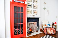 diy closet door that looks like a british phone booth  : - ) Leif's Modern Victorian Bedroom