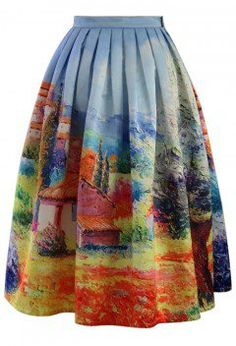 Turn Back Time Scenic Print Midi Skirt - Skirt - Bottoms - Retro, Indie and Unique Fashion