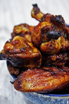Drobiu cień: skrzydełka z kurczaka w słodko-ostrej glazurze - Stonerchef Tandoori Chicken, Chicken Wings, Poultry, Sushi, Meal Prep, Grilling, Food And Drink, Cooking Recipes, Menu