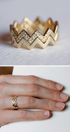 Chevron stacking diamond ring
